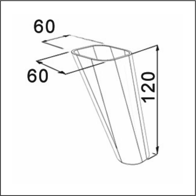Picior Oval Comfort  12 cm Alb VA 310-05