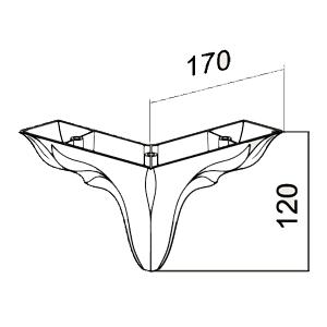 Picior Leaf 17 * 17 * 12 cm Alb VA 541-05